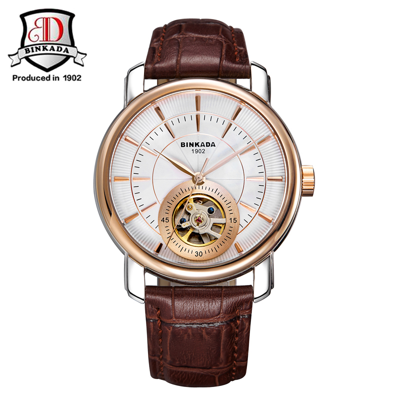 все цены на 2017 New BINKADA Tourbillon Design Clock Men Automatic Watch Skeleton Military Watch Mechanical Self Winding Movement Wristwatch онлайн