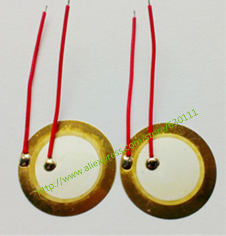 10PCS/LOT ,35mm Piezo Ceramic Element With Cable Length