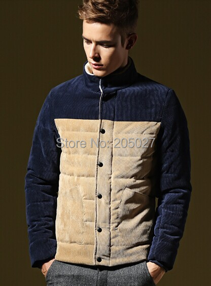 2014 Hot selling Plus Size 3XL Fleece Corduroy Wadded Jacket Men Cotton Filling Thickening Wadded Coat