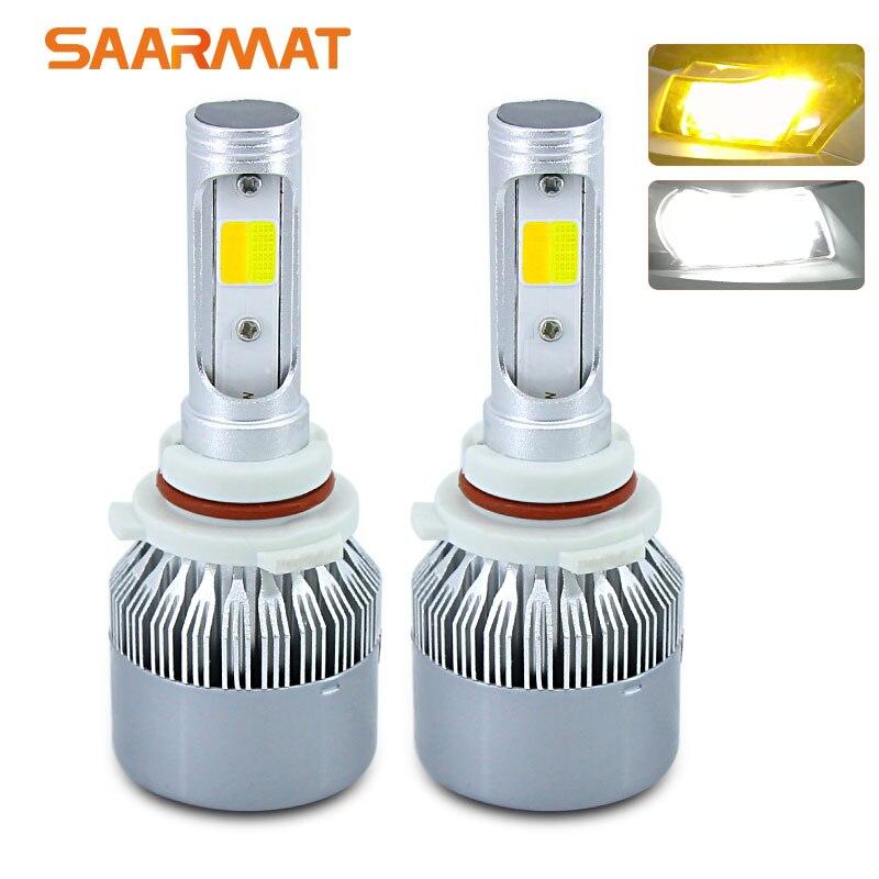 Pair Dual-Colors 6000K White 3000K Amber 11400LM LED Headlight Bulb H4 9003 HB2 H7 H8 H9 H11 H16(JP) 9005 HB3 H10 9006 HB4 9012