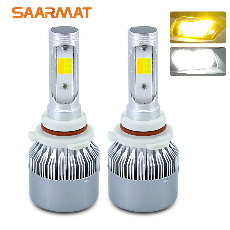 Pair Dual-Colors 6000K White 3000K Amber 11400LM LED Headlight Bulb H4 9003 HB2 H7 H8 H9 H11 H16(JP) 9005 HB3 H10 9006 HB4 9012