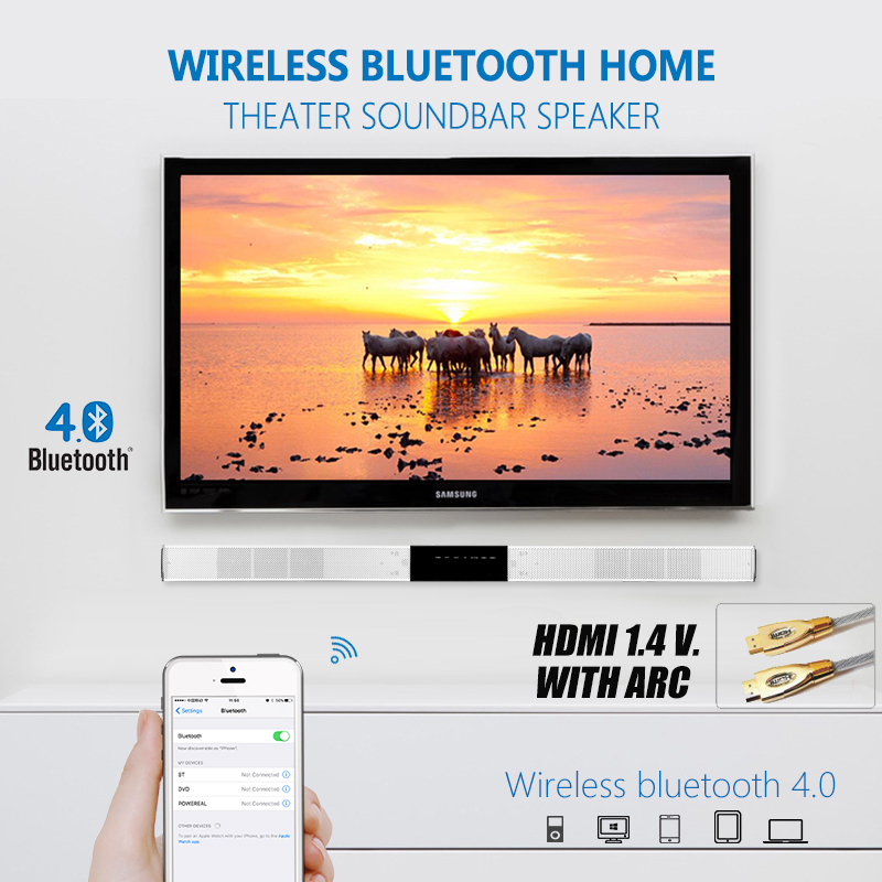 WIRELESS TV SPEAKER / TV SOUNDBAR , WITH HDMI&BLUETOOTH DIGITAL INPUTS, 3D SOUND WITH POWERFUL BASS , BEST SOUND BAR FOR TV