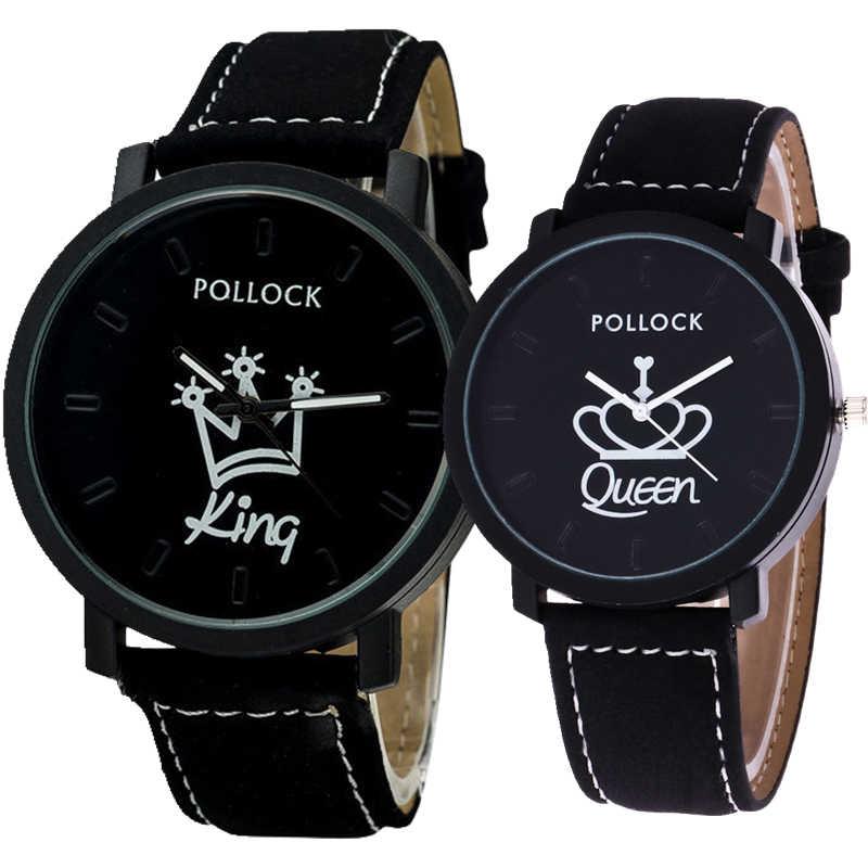 חם פופולרי יוניסקס אוהבי זוג אופנה מלך מלכת כתר עיצוב עור שעונים mens נשים מקרית פנאי שמלת קוורץ שעונים