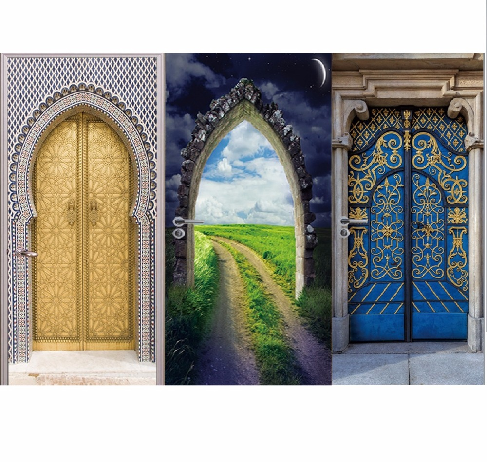 Muslim Islam Religious Wall Door Stickers Fake Door Pattern Living Room Wall Stickers Home Decor Wall Decal Home Wholesale Price