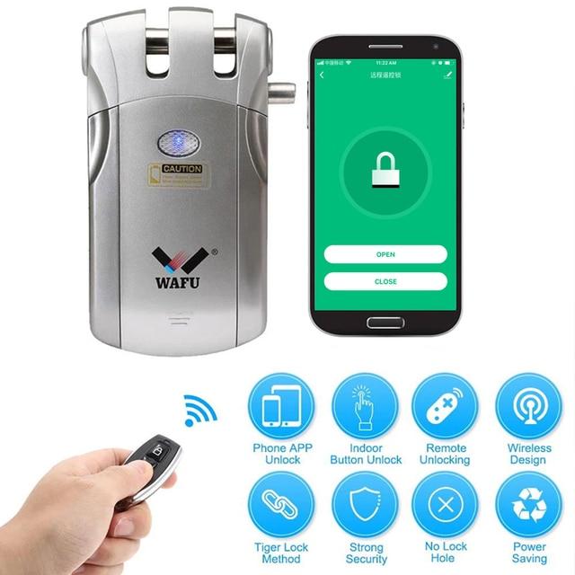 Wafu 018W Pro Wifi Thông Minh Khóa Cửa Điều Khiển Từ Xa Khóa An Ninh Vô Hình Tai Nghe Kéo Khóa Thông Minh IOS Android Ứng Dụng Mở Khóa