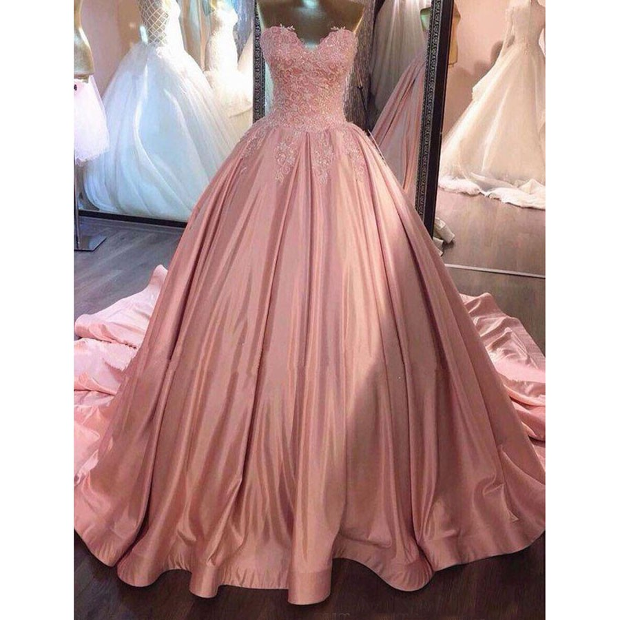 11a00bd0661 Pink Ball Gown Prom Dresses Sweetheart Lace Ruffled Corset Dusty Rose 2019 Quinceanera  Dresses Sweet 16