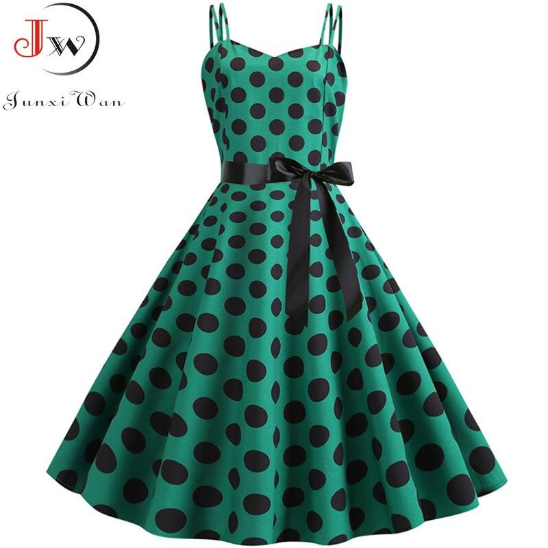 Women Summer Dresses 2019 Robe Vintage 50s 60s Pin Up Big Swing Party Rockabilly Dress Sexy Spaghetti Strap Polka Dot Vestidos