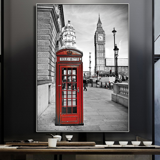 London Street Wall Art Red Telephone Booth Paintings City Gray Pictures Paint Canvas Prints For Living