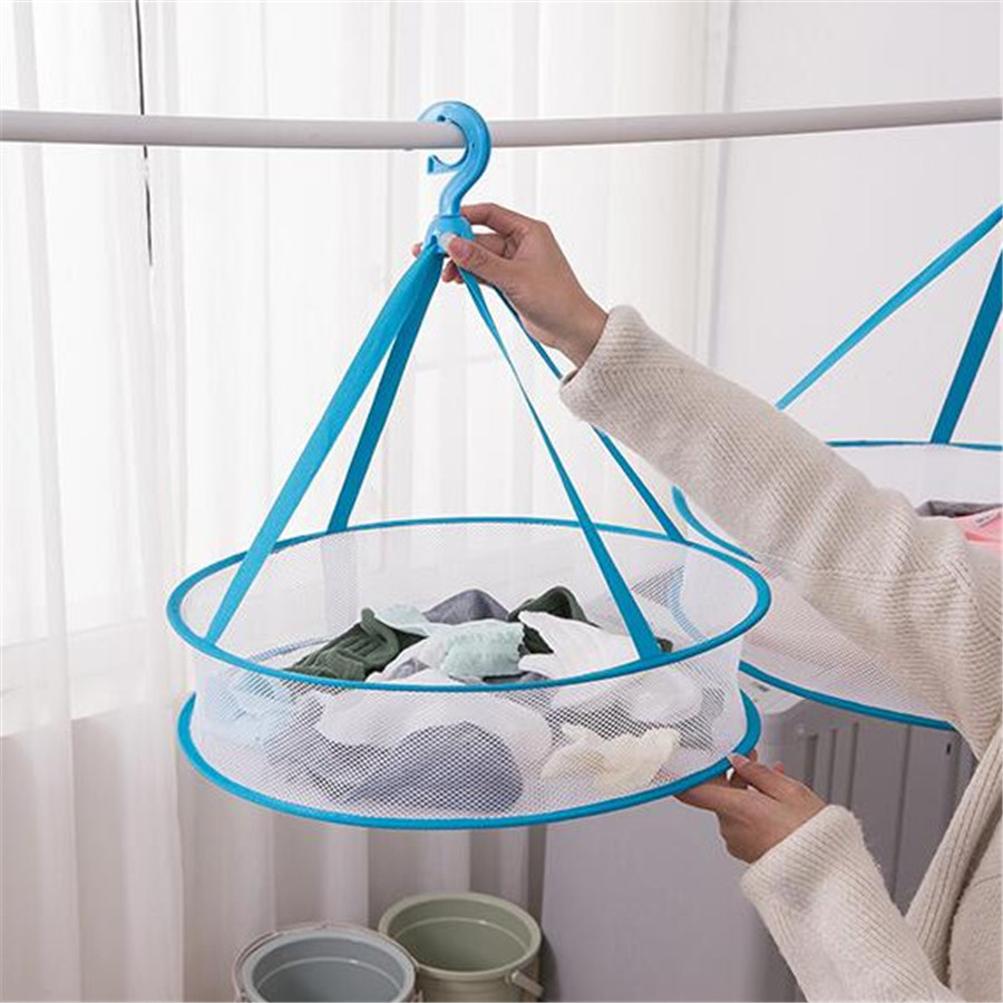 Windproof Clothes Dryer Drying Rack For Sweaters Hanging Laundry Basket Mesh Folding Nets Single