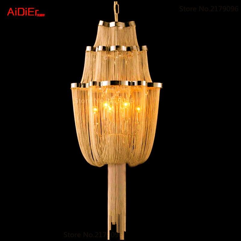 High-end lustr v evropském stylu Ložní svítidla Italská restaurace řetězce hliníkový lanový lustr Hotel Lighting