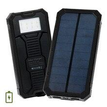 10000 mAh Banco de la Energía Solar Portátil Teléfono Móvil de Doble Puerto Cargador de Batería Externo Powerbank Pover Poverbank con Luz LED