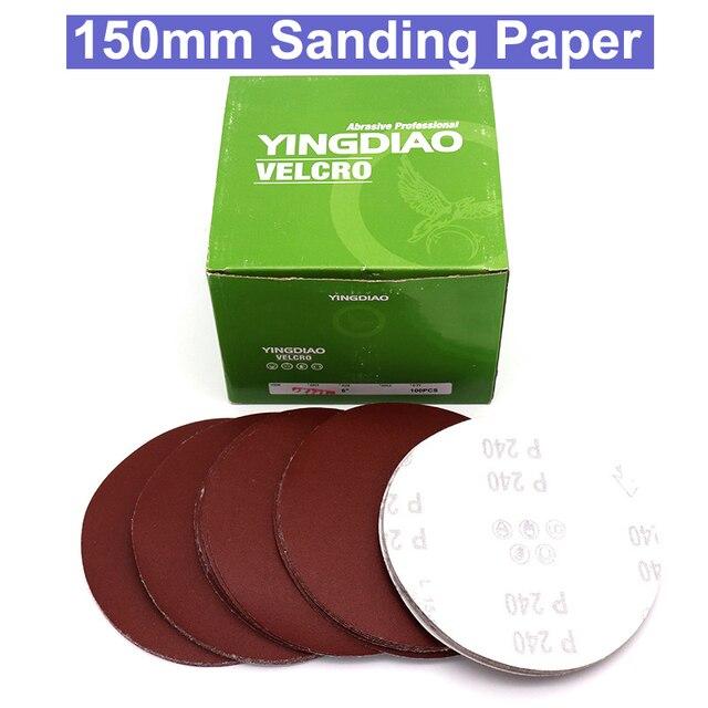10 sztuk 6 cal 150mm Grit 150/180/240/320/400/600/800 /1000 papier ścierny tarcze hak pętli papier ścierny okrągły papier ścierny ściernica piaskowa