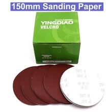 Discos de papel de lija redondos, 10 Uds., 6 pulgadas, 150mm, 150/180/240/320/400/600, hoja de lija