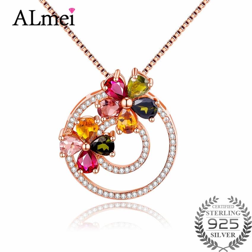 Almei Women 2 8ct Tourmaline Colorful Round Crystal Pendant Necklace Silver 925 Unique Design Flower Fine
