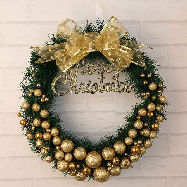 christmas window door decorations pendant gold sprinkle gradient wreath powder ball christmas wedding wreaths garland ornament