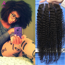 7A Afro Kinky Curly Lace Closure 5×5″ Mongolian Virgin Hair Afro Kinky Curly Lace Top Closure Bleached Knots Cara Hair Products