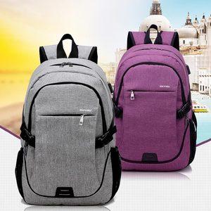 Image 3 - 2020 nova moda multifuncional de carregamento usb portátil mochila saco do estudante das mulheres cor sólida mochilas femininas