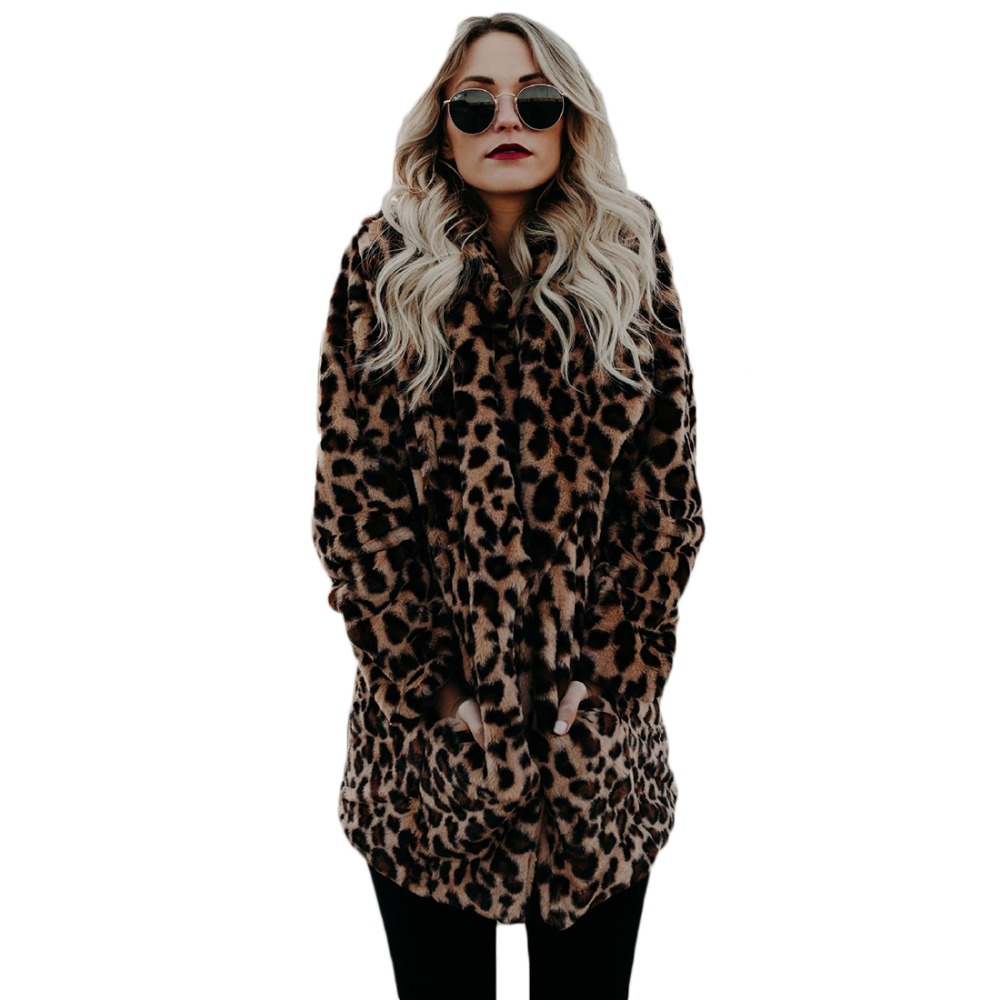 YJSFG HAUS Hohe qualität Luxus Faux pelzmantel für Frauen Mantel Winter Warme Mode Leopard künstliche pelz frauen Mäntel jacke