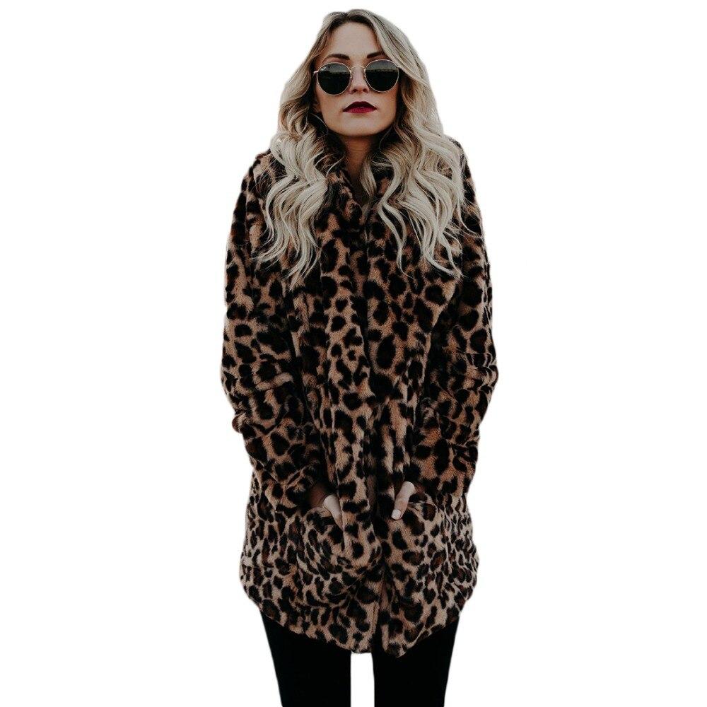 YJSFG MAISON de Haute qualité De Luxe Faux manteau De Fourrure pour les Femmes Manteau D'hiver Chaud De Mode Léopard artificielle Manteaux de fourrure Femmes veste