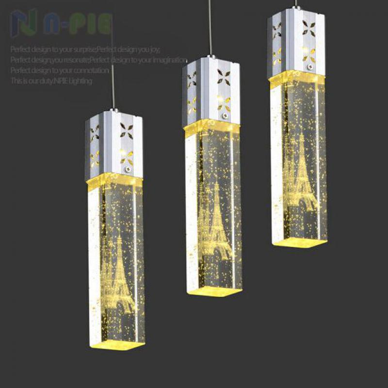 Modern Fashion K9 Bubble Crystal Column Eiffel Tower Led 5w*1/3/6 Heads Pendant Lamp For Dining Room Living Room Deco Light 1649 modern fashion luxurious rectangle k9 crystal led e14 e12 6 heads pendant light for living room dining room bar deco 2239