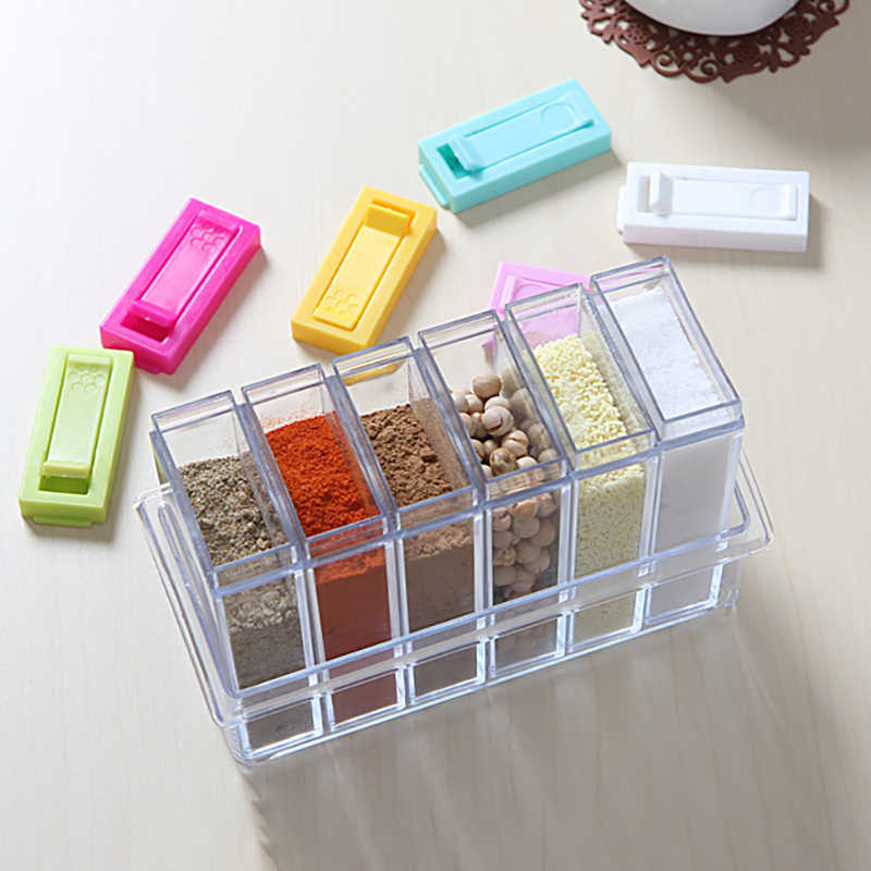 1pcs Transparent Spice Jar Set Salt and Pepper Seasoning Bottle Colorful Lid Kitchen Condiment Cruet Storage Container