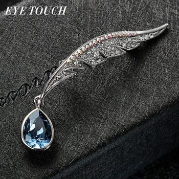 EYE TOUCH New Fashion Leaves Zircon Channel Brooches Water Drop Crystal From Swarovski Brooches For Women Party Jewelry Gift jewellery