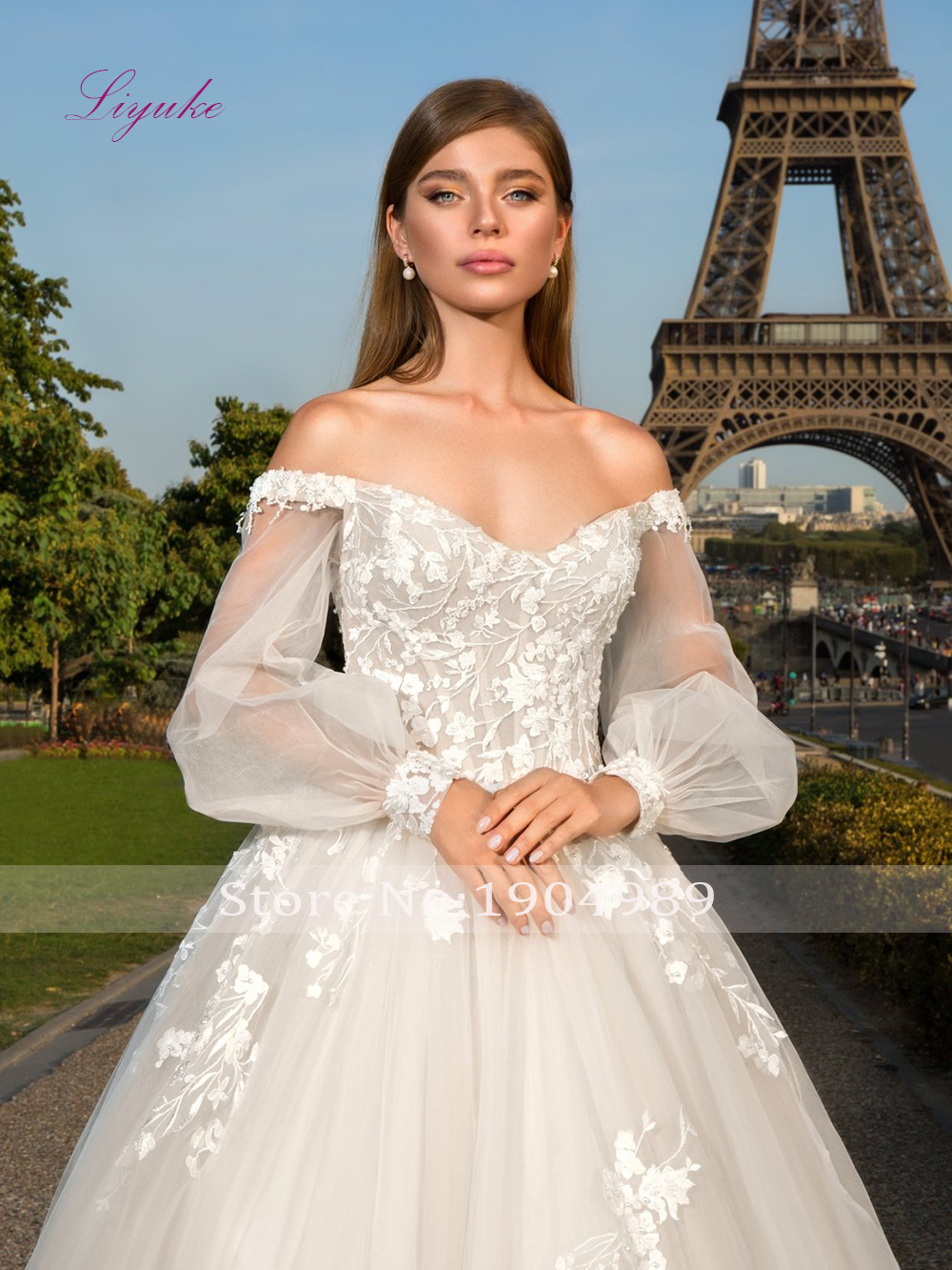 Liyuke 2019 Married Sweetheart Ball Gown Wedding Dress Long Lantern Sleeves Lace Appliques