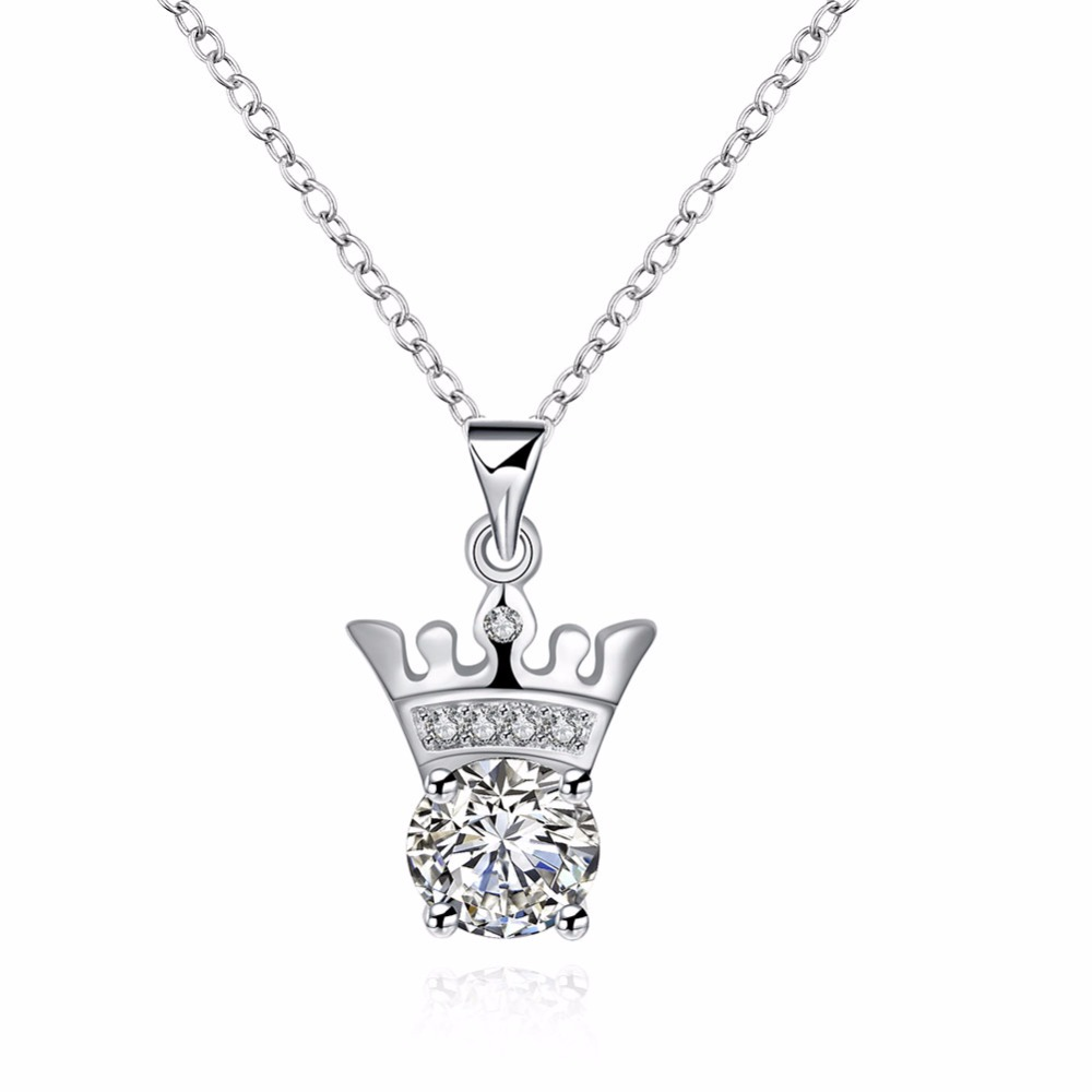 Free Shipping Hot Items New Style 925 Sterling Silver Jewelry Exquisite Noble Crown Cylindrical Pendant Womens Necklace