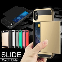 цена на Portable Credit Card Holder Wallet Case For iPhone X XS 7 8 6 6S Plus Hybrid Armor Defender Shockproof Cover For iPhone 5 5S SE