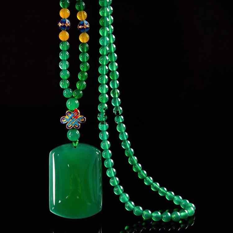 El emperador verde natural JADE VERDE médula WU SHI PAI marca colgante suéter cadena un collar grande