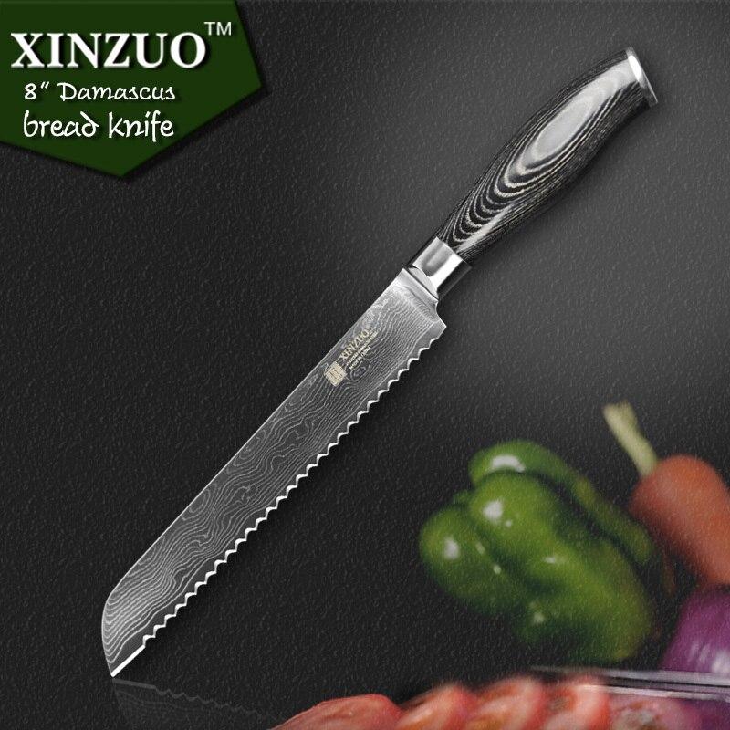 XINZUO 8 inch bread font b knife b font 73 layers Damascus kitchen font b knife