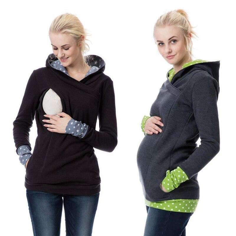Autumn Winter Warm Nursing Maternity Hoodies For Pregnant Women Breastfeeding Pregnancy Hooded Top Maternity Lactation Sweater