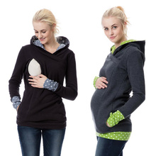 Autumn Winter Warm Nursing Maternity Hoodies for Pregnant Women Breastfeeding Pregnancy Hooded Top Lactation Sweater