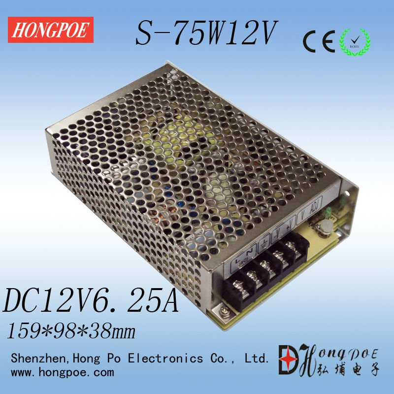 1PCS 75W 12V power supply 12V 6.25A 75W AC-DC 110/230VAC DC12V S-75-12 Industrial grade 20pcs 350w 12v 29a power supply 12v 29a 350w ac dc 100 240v s 350 12 dc12v