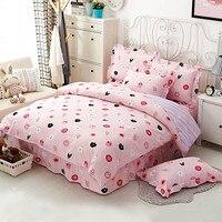 Pamuk çiçek baskı yatak seti 4 parça kraliçe pembe dantel yatak etek ikiz nevresim ücretsiz kargo