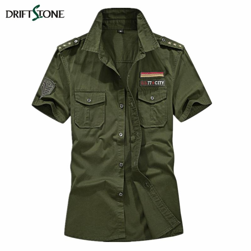 Summer Military Shirt Men Short Sleeve Casual Shirt Spring Cotton Tactical Clothes Men Army Shirt Plus Size 5XL Army Green Khaki