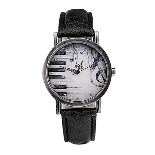 Vintage Unisex Soft Faux Leather Musical Note Piano Dial Quartz Wristwatch Gifts