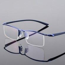 Browline meia borda armação de óculos de metal para homem óculos moda legal óptica óculos prescrição p8190
