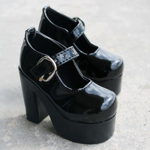 [wamami] 55# Black 1/3 SD DOD BJD Dollfie High Heels Leather Shoes 1 3 1 4 1 6 1 8 1 12 bjd wigs fashion light gray fur wig bjd sd short wig for diy dollfie