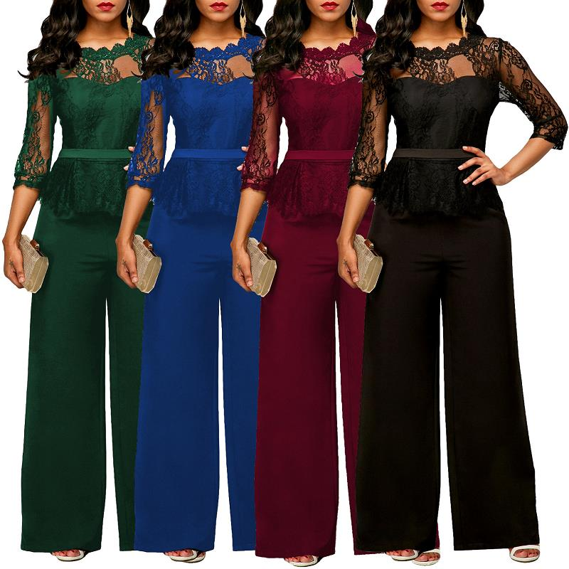 Adogirl Lace Hollow Out O-neck Sexy Women Spring and Autumn Plus Size Jumpsuits and Rompers Black/Blue/Green Wide Leg Playsuits