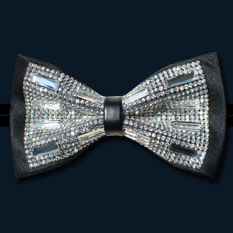 Novelty Men Women Luxury Formal Party Wedding Bow Tie Necktie Bling Bling Silver