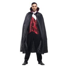 Adult Men Classic Gothic Vampire Vampira Costume Halloween Purim Party Carnival Masquerade Cosplay Outfit