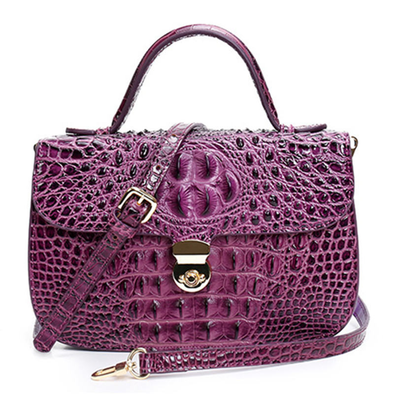 2017 New Women Thailand Aligator Designer Casual Tote Messenger Crossbody Genuine Leather Bags Shoulder Handbag Lady Purple Bag