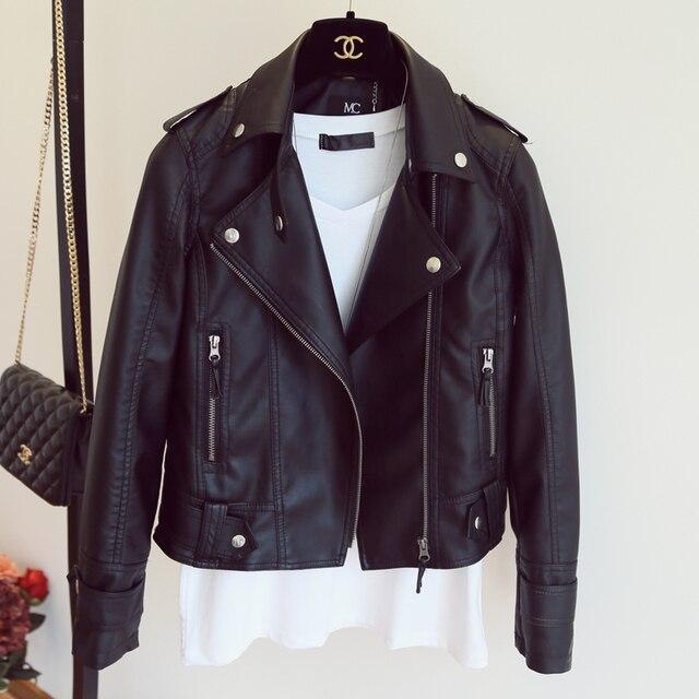 Leather Jacket 2018 của Phụ Nữ Năm Mới Thiết Kế PU Leather Jacket Mềm Áo Khoác Da Mỏng Ve Áo Xe Gắn Máy Áo Khoác Black Pink