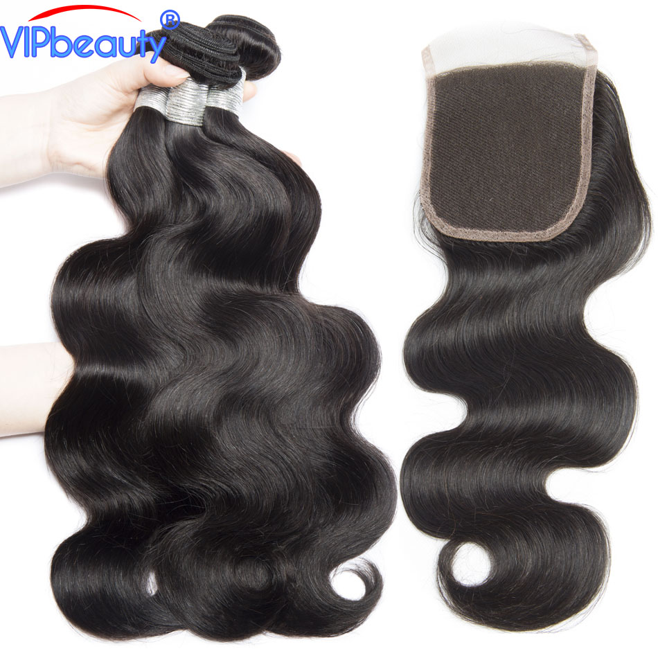 Vip beauty Brazilian body wave 3 bundles with closure remy hair extension human hair bundles with