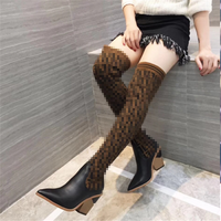 2018 European American style pointed toe strange heel knee boots slim knitting F letter women's long boots genuine leather shoe