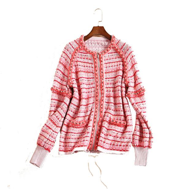 Europe and the United States women's new winter 2016 heavy hammer bead thick knitting wool coat