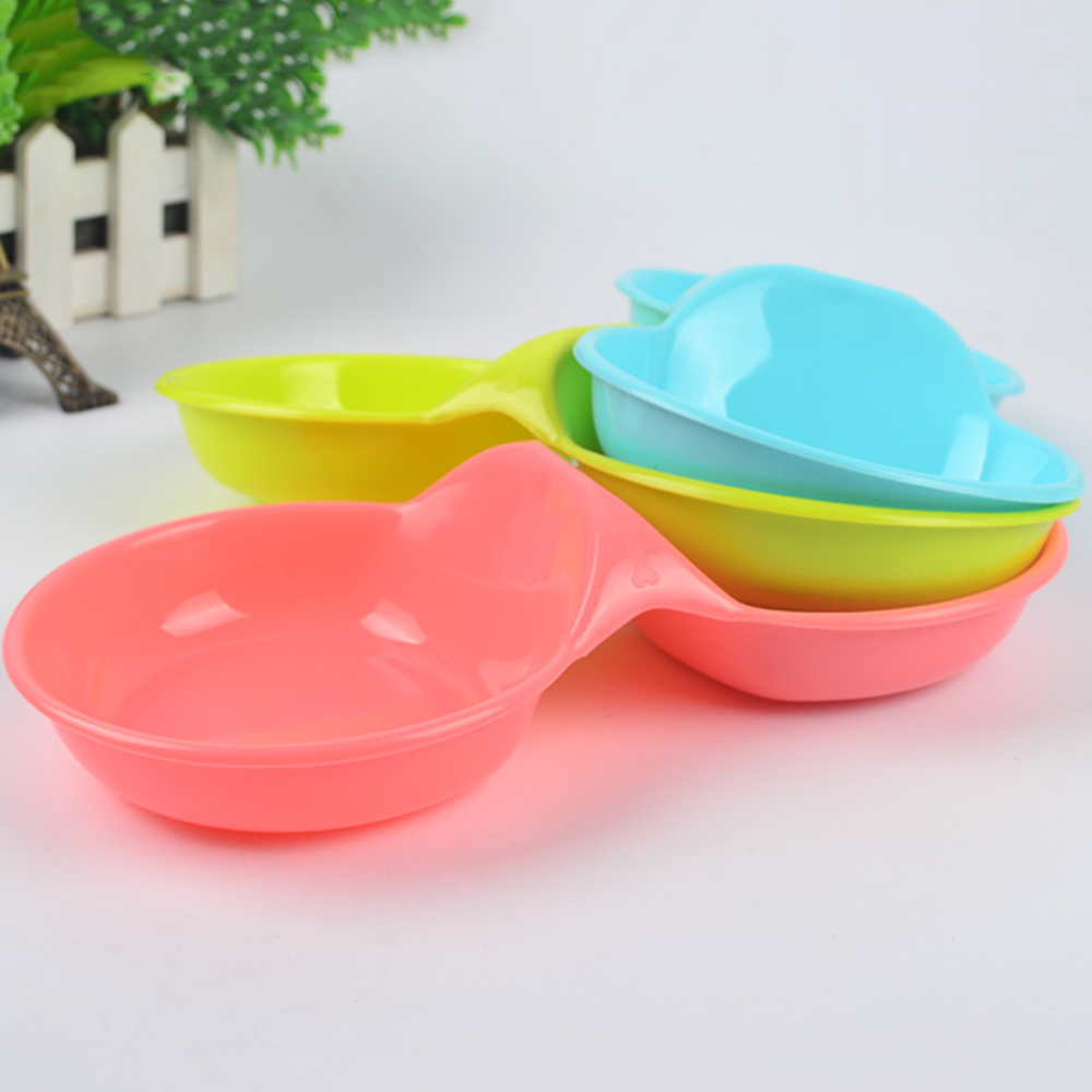 New Cute Candy Color  Pet Double Bowls Plastic Puppy Dog Food Bowl Cat Bowl Food Holder Pet Supplies