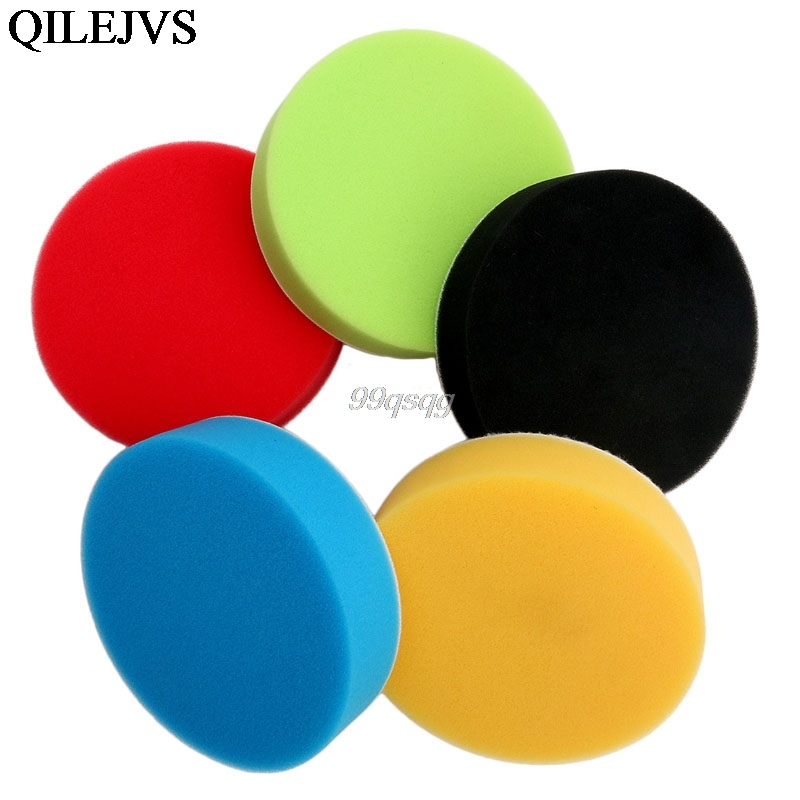 Hot 5PCS 3/4/5/6/7 Flat Sponge Buff Buffing Pad Polishing Kit Car Polisher Drop shipping ...