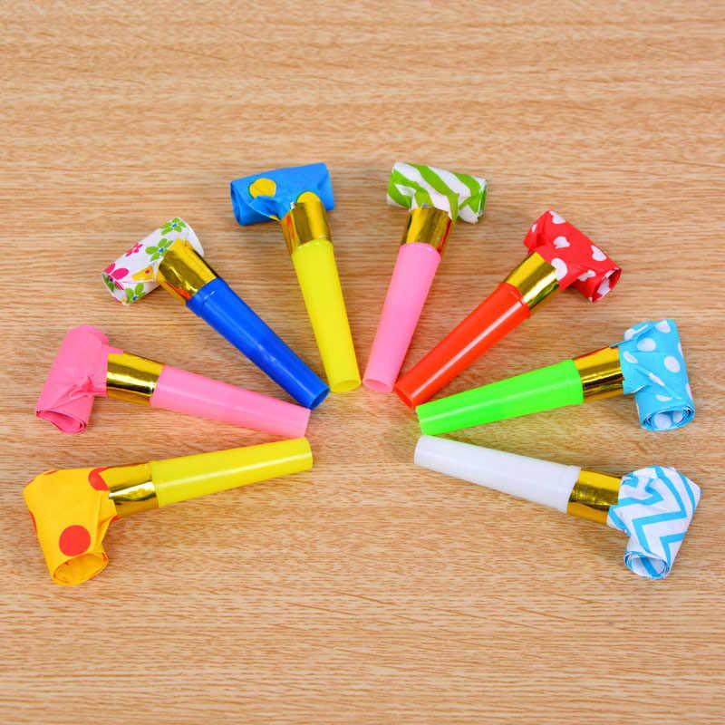 10 шт. с изображениями мультипликационных персонажей Пластик бумажные свистки детская День рождения дутая Дракон разлив нефти мини Рог Игрушка на день рождения подарок Цвет в случайном порядке
